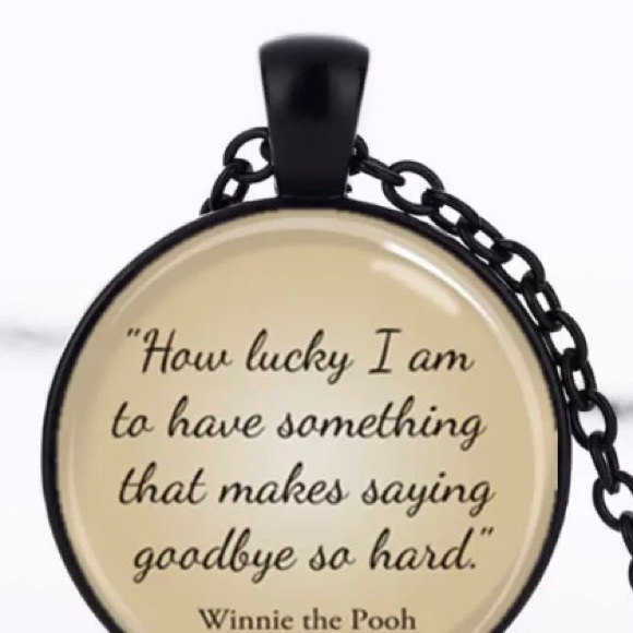 Winnie the Pooh Goodbye Quote Pendant Necklace Boutique